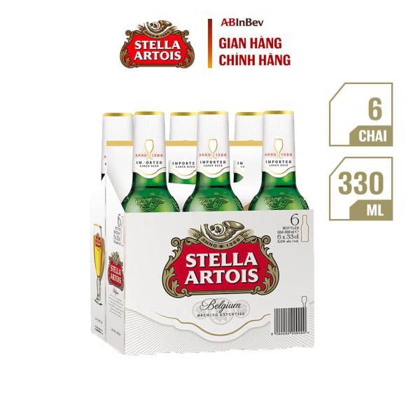 Lốc 6 chai bia Stella Artois (330ml/chai) - Bia Bỉ Thượng Hạng Nhập Khẩu Từ Bỉ