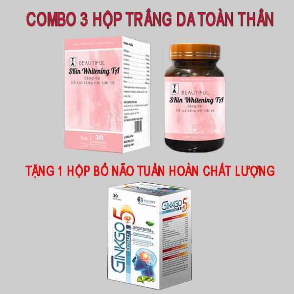 COMBO 3 Hộp Viên Uống Trắng Da Nhanh Hiệu Quả - Giúp da sáng mịn trắng hồng, làm giảm quá trình lão hóa da, hết nám da, tàn nhang , Tăng nội tiết tố