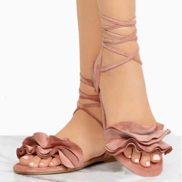 Giày Nữ Sandal Nhỏ Cho Nữ Gọng Mũi Tròn Gót Bằng Chéo Buộc Giày Sandal La Mã Giày Dép Mùa Hè Thả Vận Chuyển Bán giỏi nhấtjkjk giá rẻ