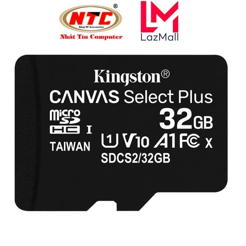 [Voucher 8% tối đa 800k cho đơn từ 150k] Thẻ nhớ microSDHC Kingston Canvas Select Plus 32GB U1 V10 A1 100MB/s (Đen) - Không Adapter - Nhat Tin Authorised Store