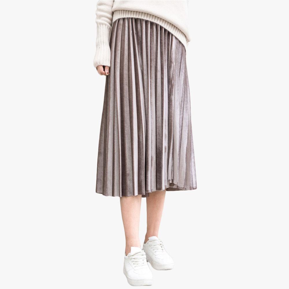 Mùa Xuân Nữ Váy Da Lộn Dài Nhung Xếp Ly Chân Váy Nữ Hè Thời Trang Midi Faldas Vintage Nữ Váy Midi Bán giỏi nhấtujkhgj