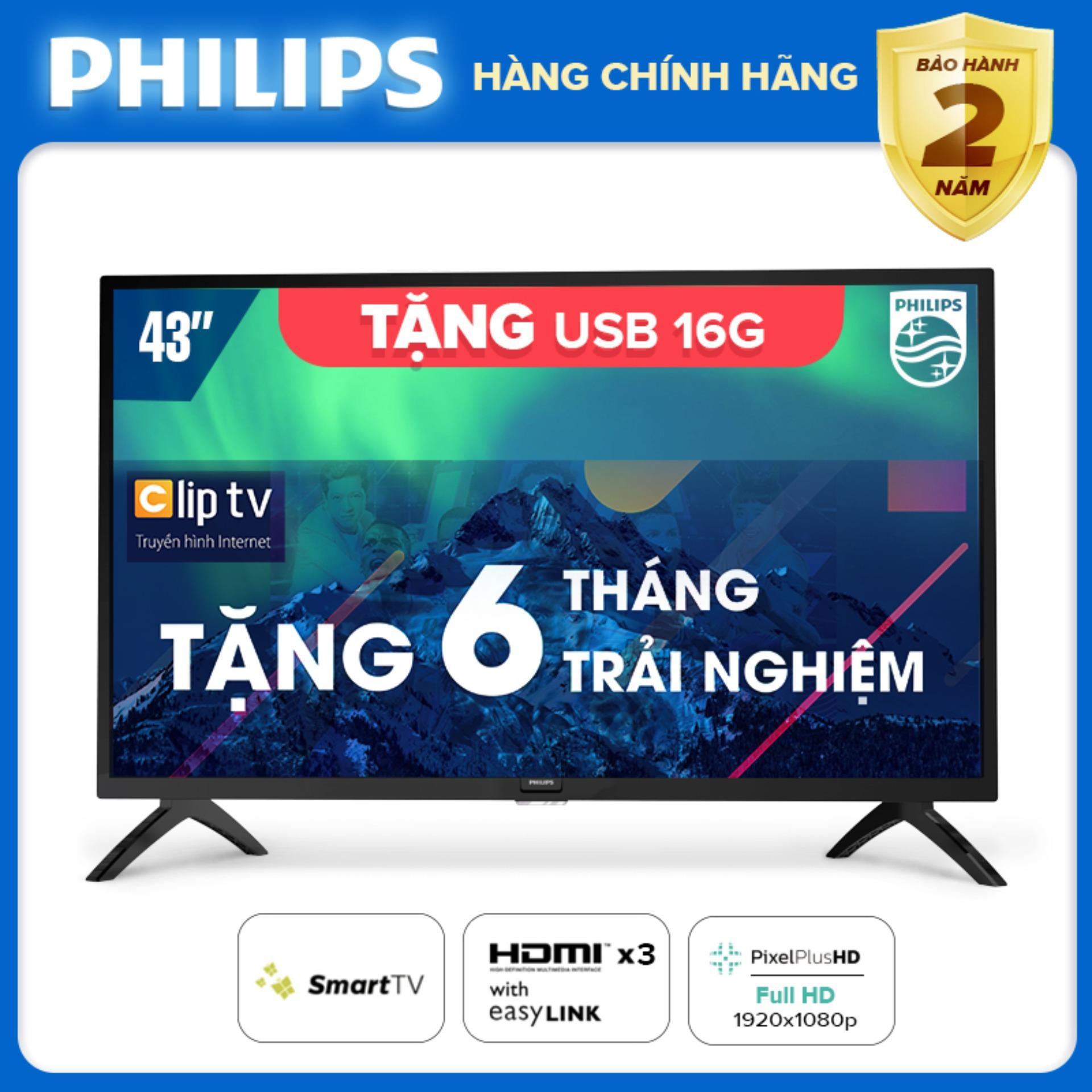 Bảng giá SMART TIVI FULL HD 43 INCH KẾT NỐI INTERNET WIFI - hàng Thái Lan - Free 6 tháng xem phim Clip TV - Tặng USB 16G - Bảo hành 2 năm tại nhà - 43PFT5853S/74 Tivi Philips