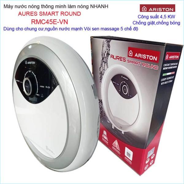 Bảng giá Máy nước nóng Ariston RMC45E-VN, máy nước nóng trực tiếp cho chung cư Aures Smart Round  (không bơm)
