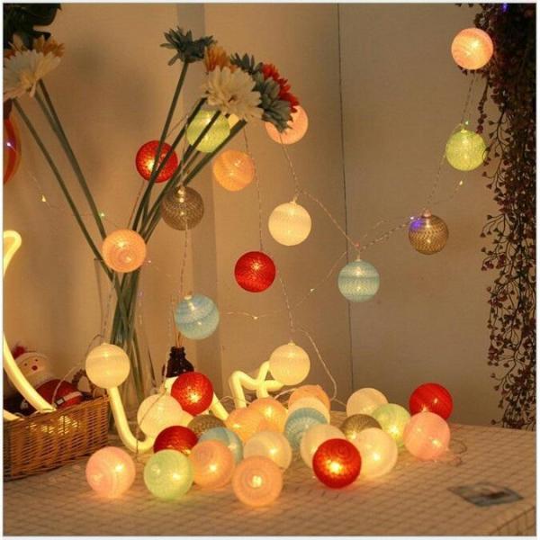 Dây đèn led trang trí xài điện 4m 20 bóng đèn tròn cotton ball
