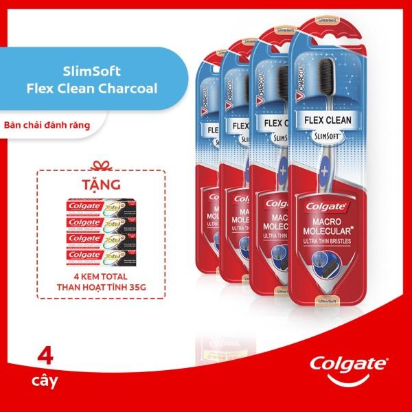 Bộ 4 Bàn chải đánh răng Colgate than hoạt tính kháng vi khuẩn SlimSoft Flex Clean Charcoal mềm mảnh nguyên khối tặng bộ 4 kem đánh răng Colgate than hoạt tính kháng khuẩnTotal 35g giá rẻ