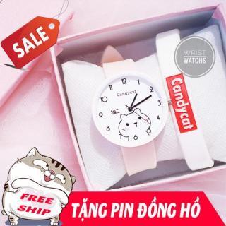 Đồng hồ dây cao su, đồng hồ nữ Candycat hình con mèo Ami cute, dây cao su bền bỉ, 4 màu lựa trọn ( Tặng pin ) thumbnail