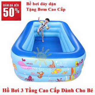 Hồ bơi mini 3 tầng cao cấp dành cho trẻ em - Chất liệu nhựa dẻo, đàn hồi tốt, độ bền cao, bảo hành uy tín toàn quốc thumbnail