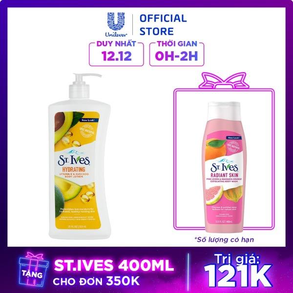Sữa dưỡng thể ST.IVES Vitamin E và Bơ 621ml cao cấp