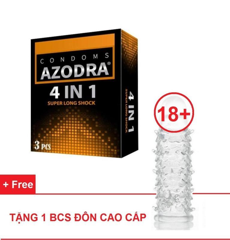 Combo 1 hộp Bao cao su gân gai kéo dài thời gian AZODRA tặng 1 BCS đôn dên kiểu cao cấp