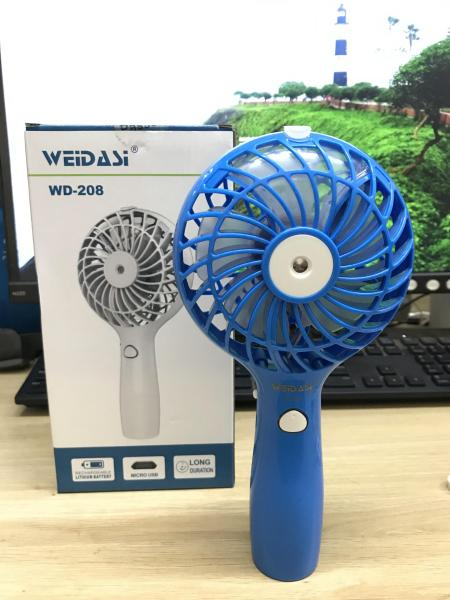 Quạt mini cầm tay phun sương công suất lớn WD-208 + tặng kèm 1 bình chứa nước mini - Giao màu ngẫu nhiên