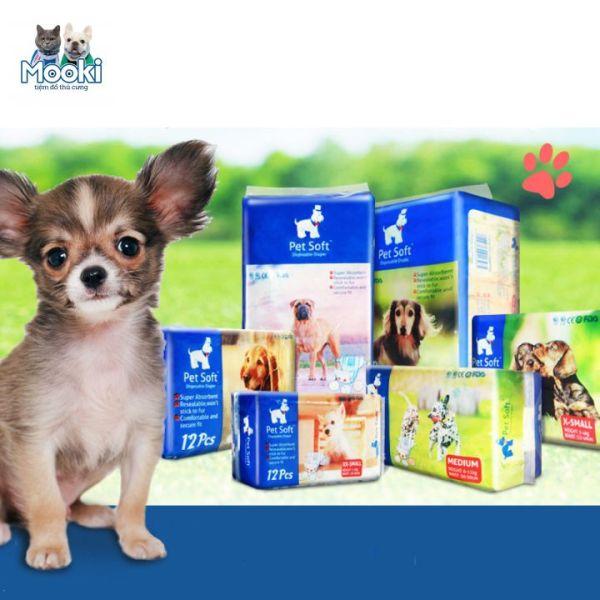 Tả cho chó, Bỉm vệ sinh chăm sóc thú cưng cho Chó Cái Pet Soft 1 bịch 12 chiếc Mooki Pet