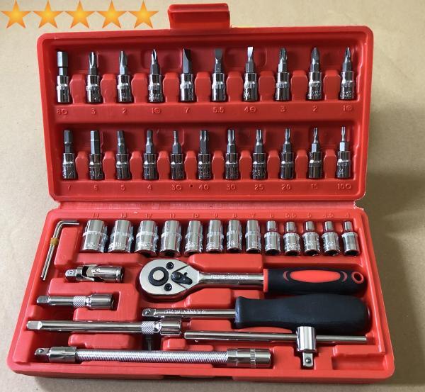 (LOẠI TỐT , REN XỊN) Bộ dụng cụ mở bu lông ốc vít, bộ dụng cụ sửa chữa ô tô xe máy, bộ dụng cụ đa năng 46 chi tiết