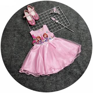 Váy bé gái đầm bé gái đầm công chúa dự tiệc cho bé gái in hình nàng tiên cá hồng DBG003 cho bé 1 2 3 4 5 6 7 tuổi nặng 10 12 15 18 20kg