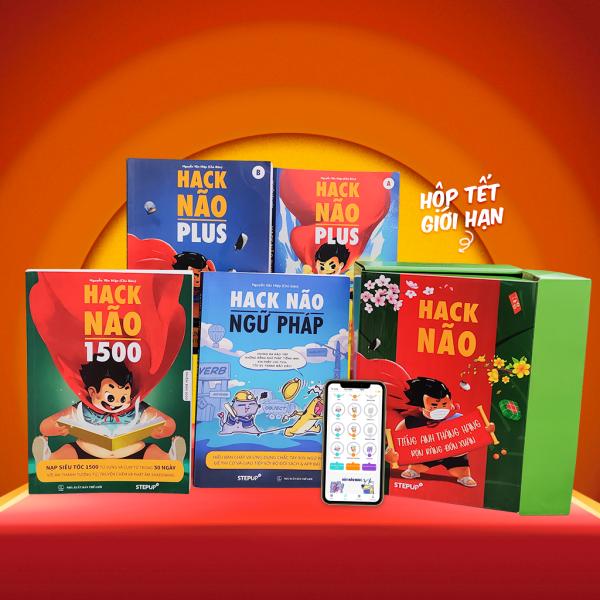 Combo 4 sách Hack Não 1500 + Hack Não Plus A, B + Hack Não Ngữ Pháp + Tặng App học phát âm và luyện tập ngữ pháp miễn phí