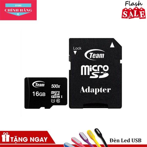 Thẻ nhớ micro SDHC Team 16GB upto 80MB/s 500x class 10 U1 kèm Adapter (Đen)