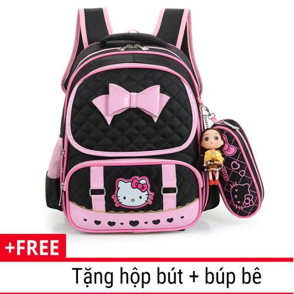 Giá bán Cặp , Balo học sinh chống gù lưng chống thấm nước cho bé gái từ lớp 1 đến lớp 3 tặng kèm hộp bút + búp bê, Balo Cho Bé, Túi Bé