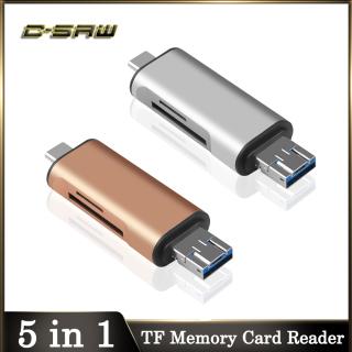 Đầu Đọc Thẻ Nhớ 5 Trong 1 C-SAW USB 2.0 SD TF Micro USB Sang USB Loại C Bộ Chuyển Đổi OTG Cho Máy Tính Xách Tay Đọc Thẻ Nhiều Đầu Thông Minh - INTL thumbnail