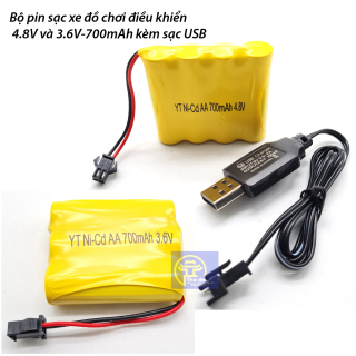 Pin sạc Ni-Cd 3.6V dung lượng 700mah dùng cho xe điều khiển cổng nối SM có bán kèm cáp sạc chân USB thumbnail
