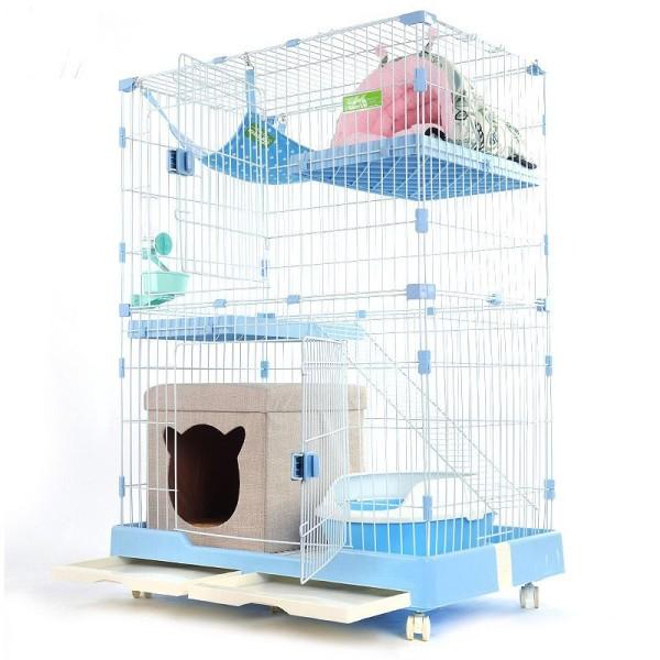 [Giá Đẹp- Hàng Chuẩn] Lồng Nhựa- Chuồng 2 Tầng Mèo- Kèm Khay Kéo Tiện Lợi- Màu Sắc Xinh Xắn- Sơn Chống Rỉ