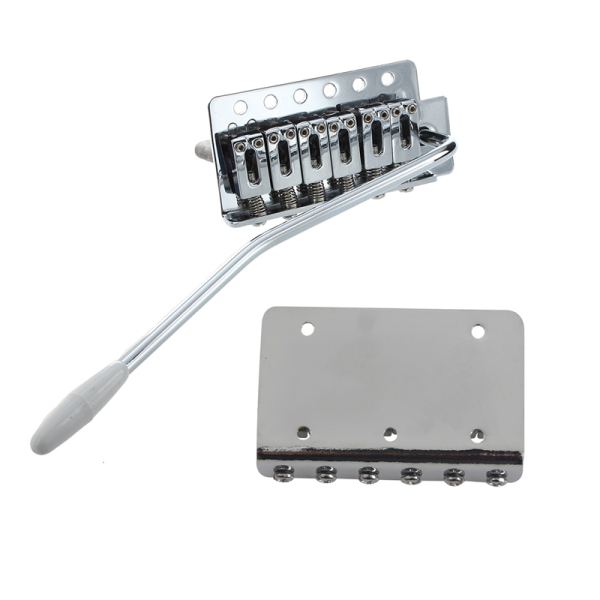 Chrome Tremolo Bridge Guitar Six Strings Single Roll with Silver 6 String Fixed Hard Tail Guitar Bridge Guitar Tailpiece for 65mm Electric Guitar