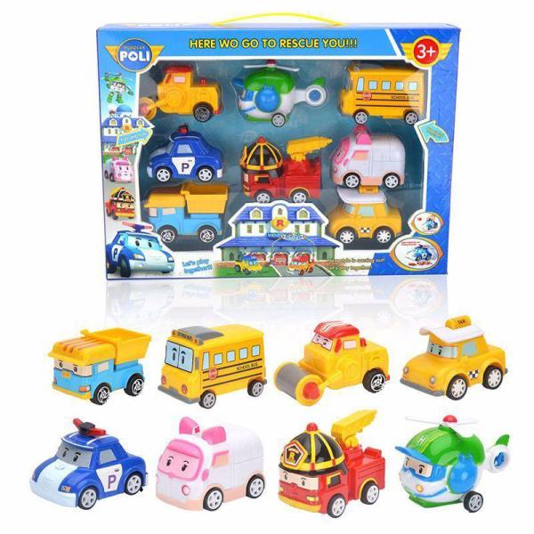 Bộ hộp đồ chơi xe trớn hình 8 xe robot poli 3+