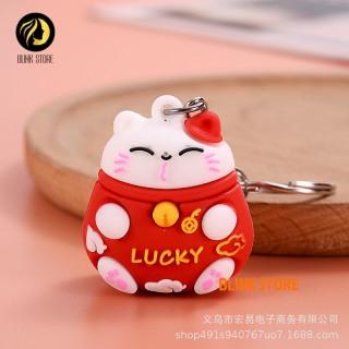 Móc chìa khóa hình mèo may mắn dùng cho khóa xe máy, ô tô, treo balo, túi xách chất liệu cao su mềm dẻo cực bền, phụ kiện trang trí đáng yêu, đem lại may mắn cho người sử dụng 5