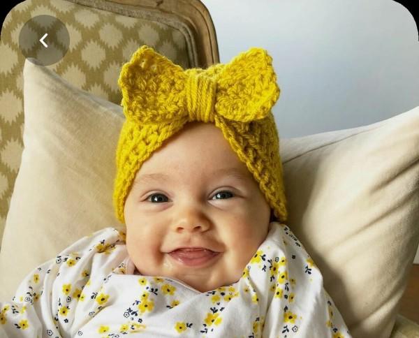 Giá bán Nón len cho bé gái (gắn nơ , hoa) cho bé từ 3 tháng  đến 1 tuổi