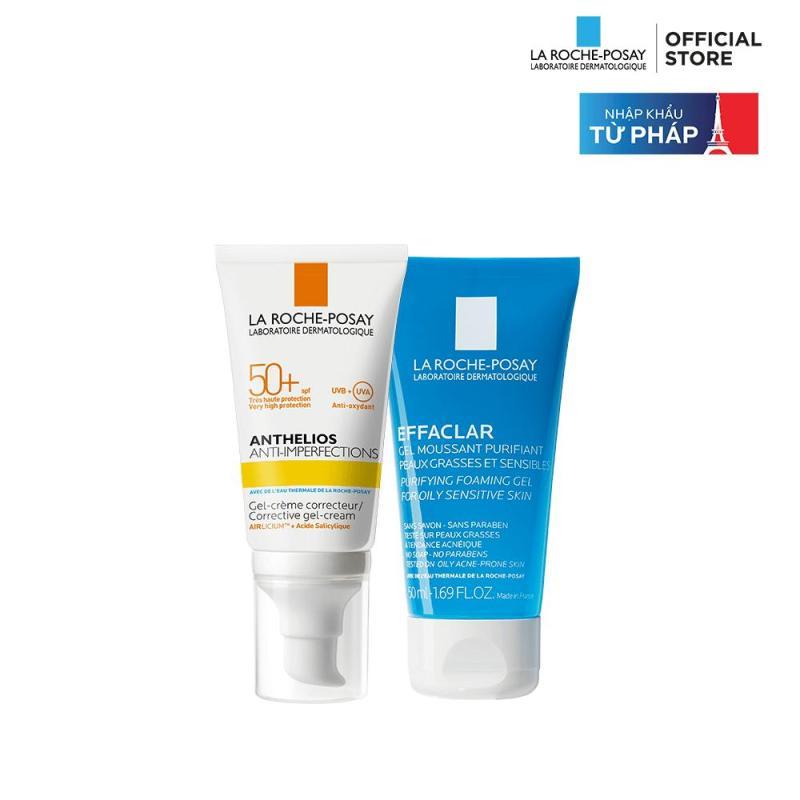 Bộ đôi Kem chống nắng La Roche-Posay Anthelios Anti-Imperfection 50ml & Gel rửa mặt dành cho da dầu mụn Effaclar Gel 50ml giá rẻ