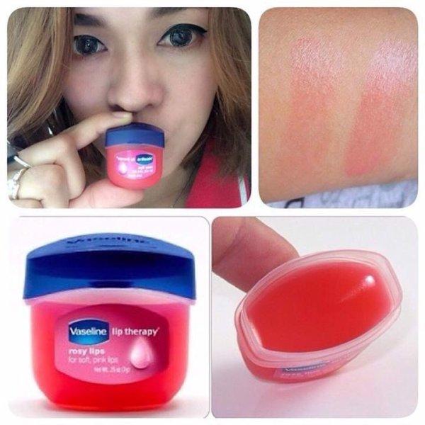 Y- COBMO 2 HỘP SON  DƯỠNG HỒNG  MÔI TRỊ THÂM MÔI Vaseline Rosy lips
