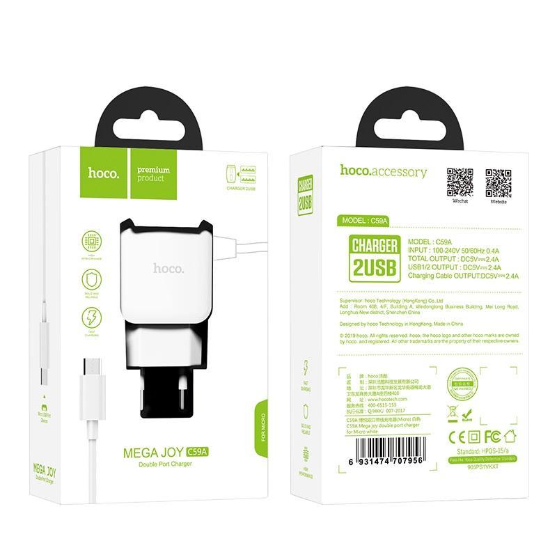Bộ sạc Hoco C59 2 cổng USB kèm 1 cáp sạc Lightning - Bảo hành 12 tháng