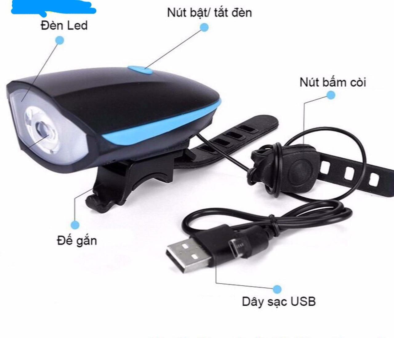 Offer Giảm Giá Đèn Xe Đạp Siêu Sáng Tích Hợp Còi Chống Nước Cao Cấp XPE T6 SẠC USB - SK04 Độ Sáng 250 Lumen