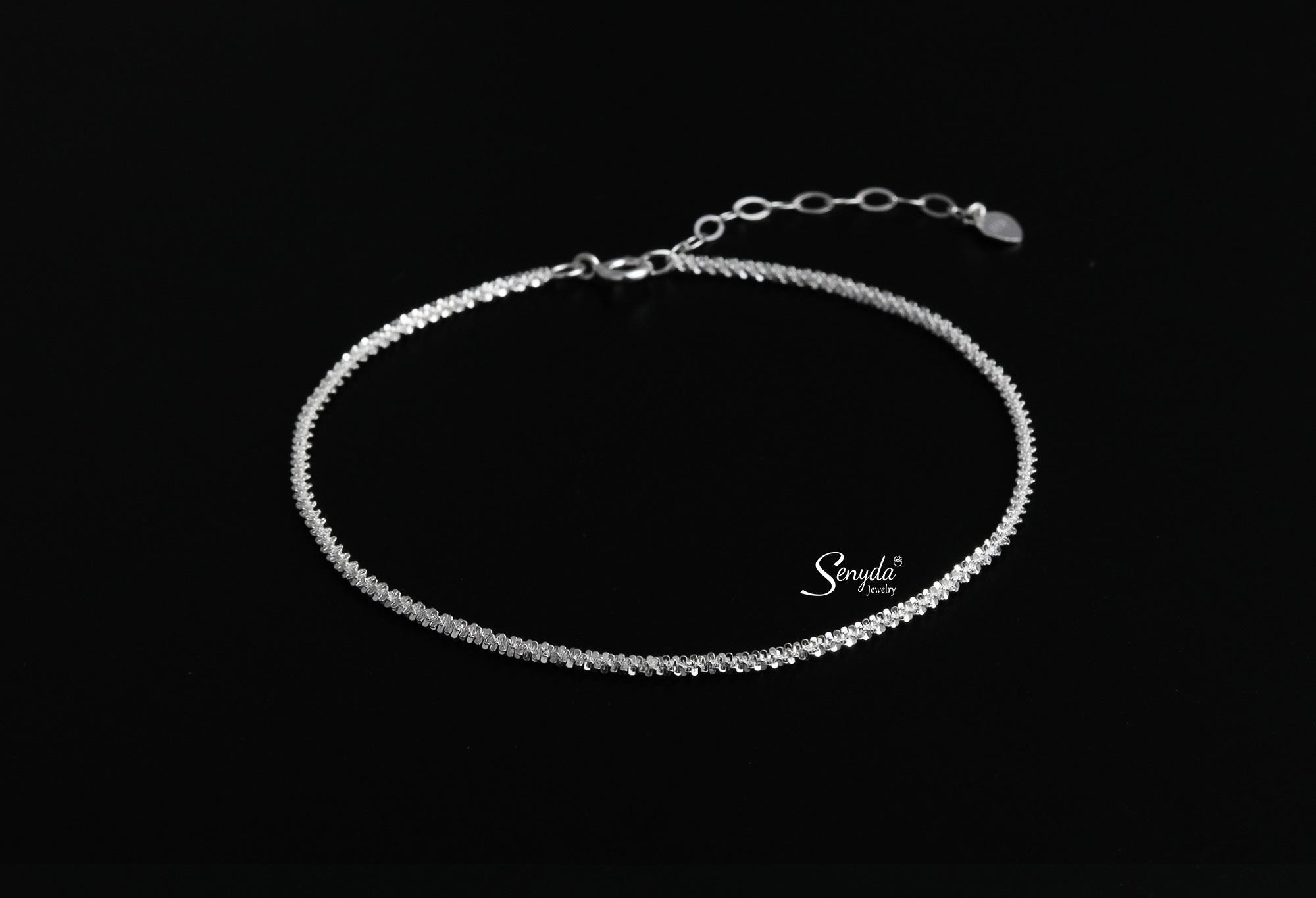 Lắc chân dây xoắn bông mai bạc 925 Senyda Jewelry LC055