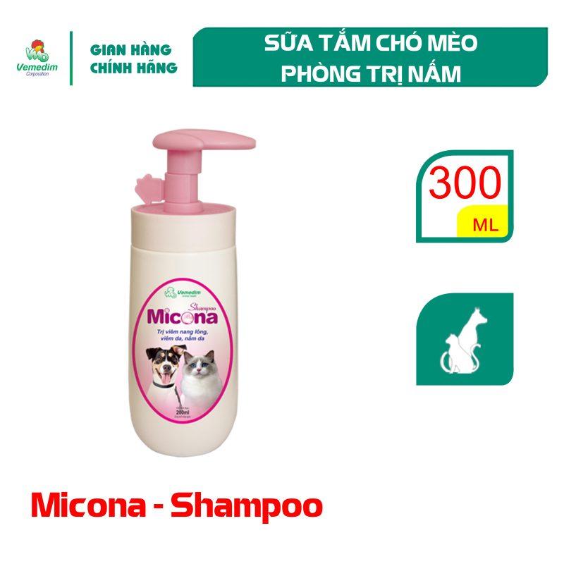 Vemedim Micona Shampo sữa tắm phòng nấm da, viêm da với mùi hương dịu nhẹ cho chó mèo, chai 200ml