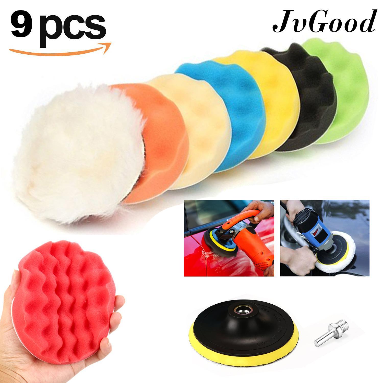 JvGood 9pc Polishing Pads, Waffle Buffer Compound 4'' Sponge Polishing  Waxing Buffing Pads Set Kit Waxing Polishing Wheel Tool Sponge Pad Drill