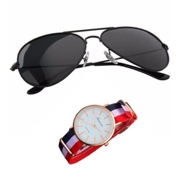 Giá bán [HCM]Kính mát nam kiểu dáng phi công (đen)+ Tặng đồng hồ dây vải cực chất