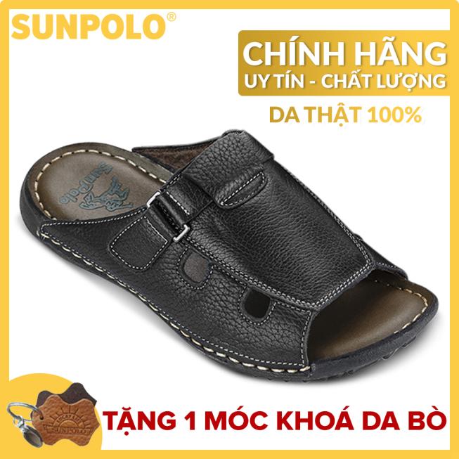 Dép Quai Ngang Nam Da Bò SUNPOLO SUD3DN (Đen, Nâu) giá rẻ