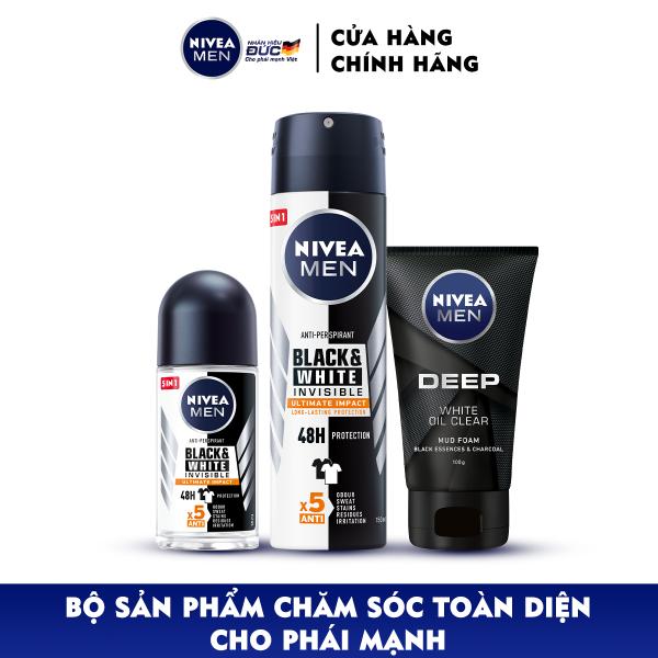 Bộ 3 Xịt và Lăn Ngăn Mùi NIVEA MEN Black & White Ngăn Vệt Ố Vàng Vượt Trội 5in1 ( Xịt ngăn mùi 150ml - 85388 và Lăn ngăn mùi 50ml - 85392) & Sữa Rửa Mặt NIVEA MEN DEEP Than Đen Hoạt Tính Hút Nhờn Sáng Da (100G) - 84415 giá rẻ