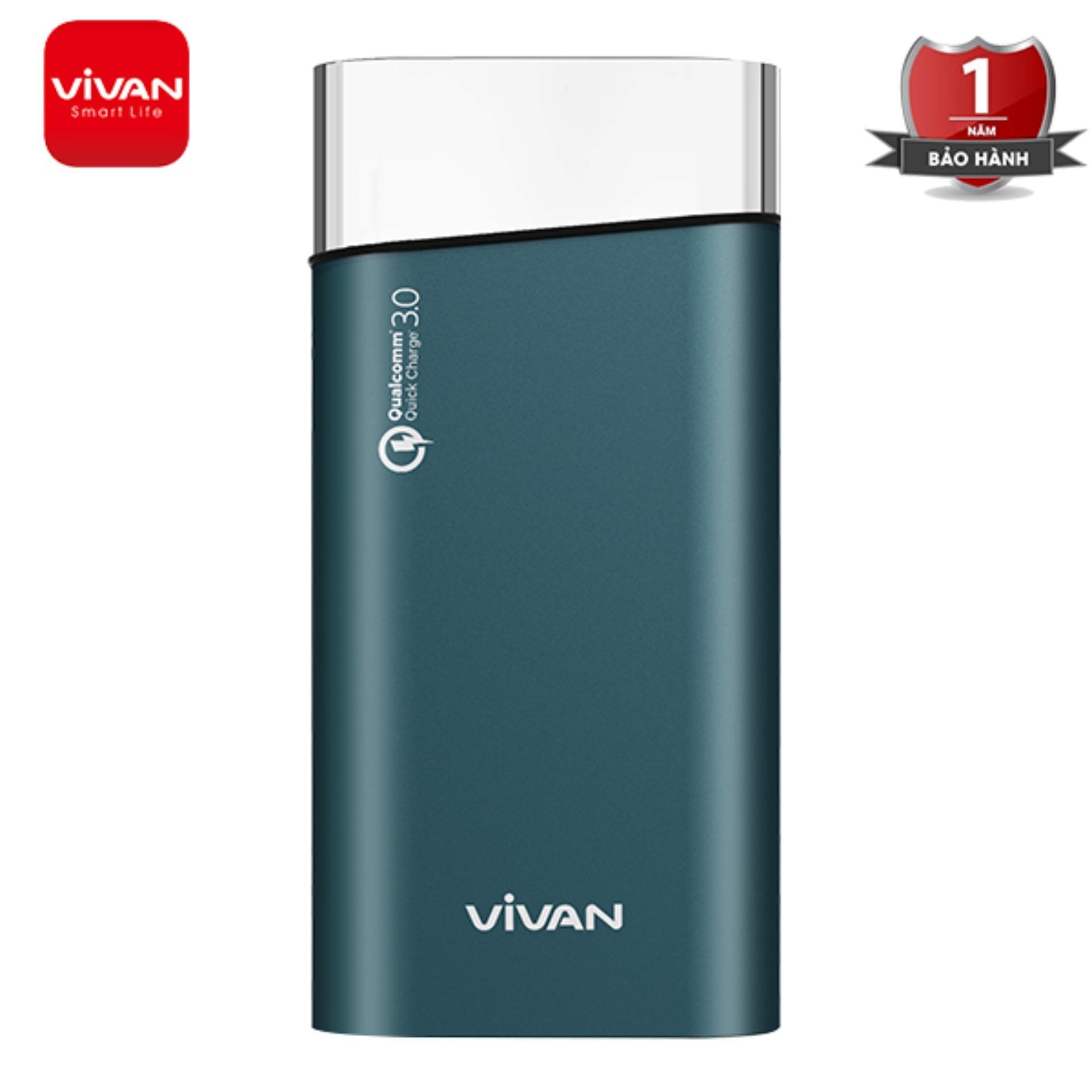 Giá Pin Sạc Dự phòng 10000mAh Vivan VPB-G10 Tích hợp sạc nhanh 18W ,  hỗ trợ sạc nhanh chuẩn PD/QC 3.0 + kèm dây sạc nhanh 3A ,( Bảo hành 1 đổi 1)