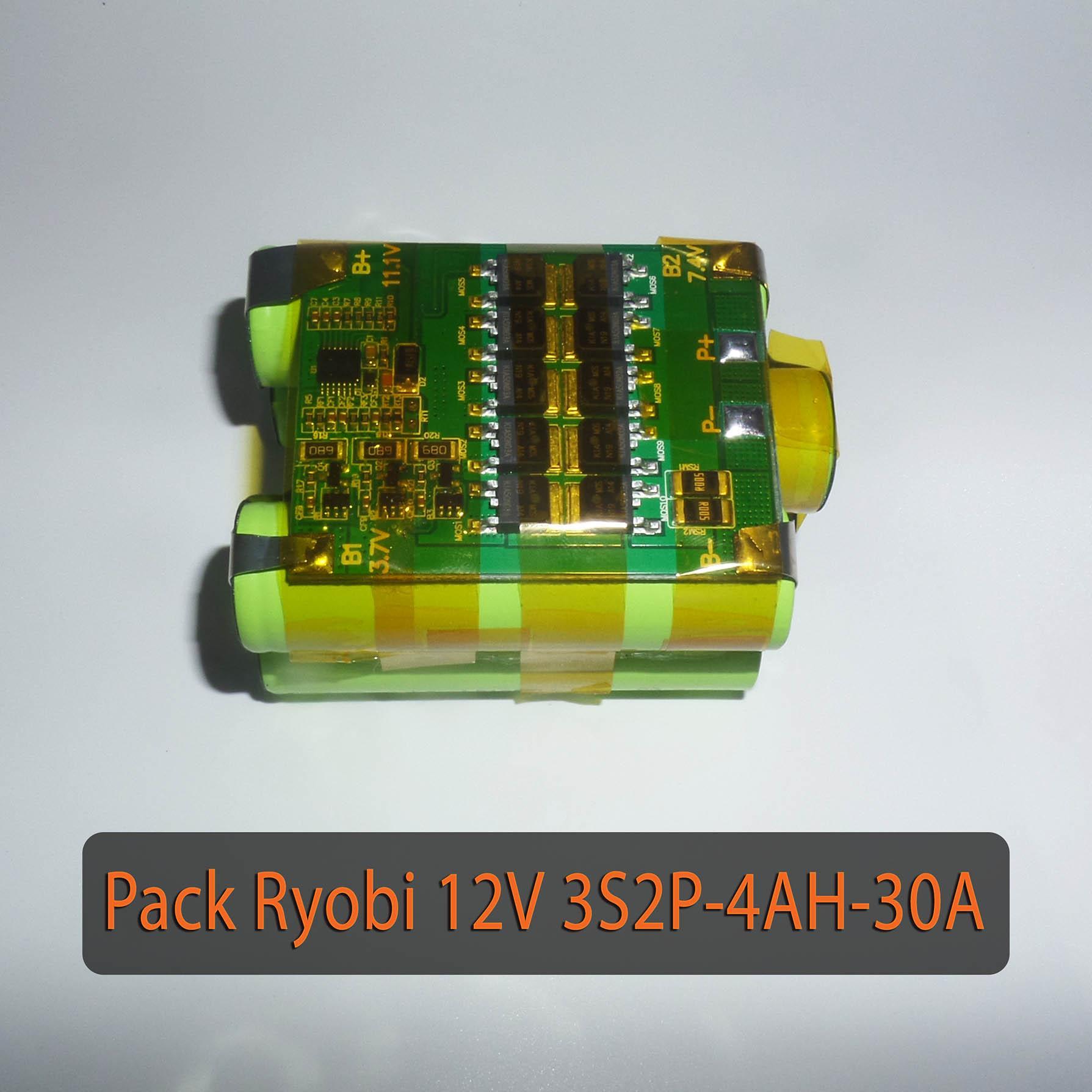 Pack PIN Ryobi 12V LiShen 3S2P - dung lượng 4AH - Dòng xả 30A - Full mạch bảo vệ và sạc cân bằng
