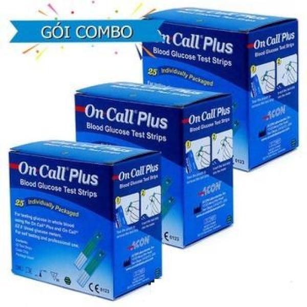 Combo 3 hộp que (25 que / hộp) thử tiểu đường (đường huyết) ACON ONCALL EZII (Mỹ) bán chạy
