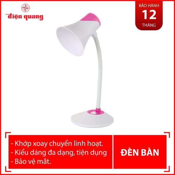 Đèn bàn bảo vệ thị lực Điện Quang ĐQ DKL15 WP B (màu trắng- hồng, bóng led daylight)