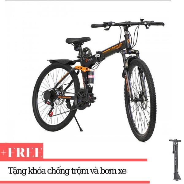 Xe đạp gấp ATW (Đen) + Tặng khóa chống trộm và bơm xe