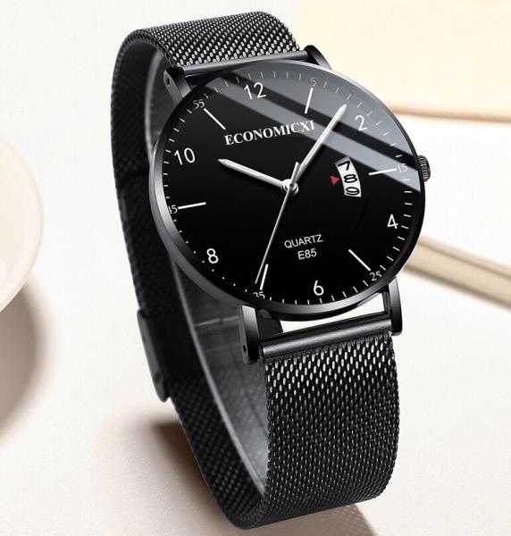 Đồng hồ nam dây thép lưới đen chạy lịch ngày cao cấp ECONOMICXI thiết kế lịch lãm (full hộp)