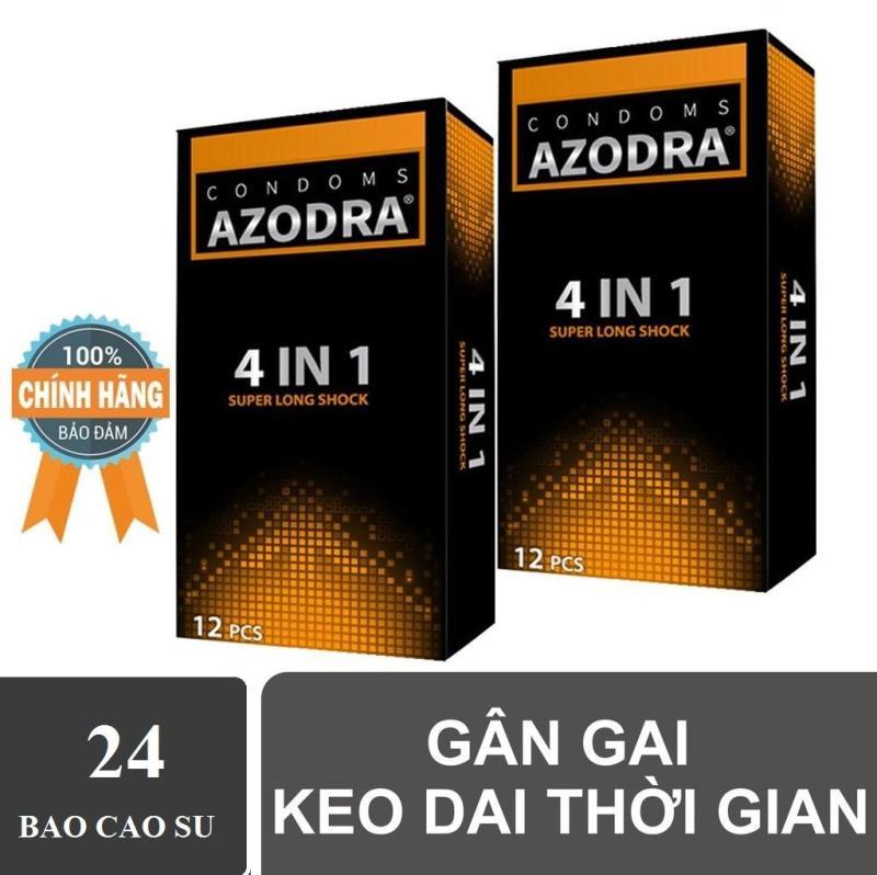 (Hàng chính hãng) Bộ 2 hộp Bao cao su gân gai kéo dài thời gian AZODRA hộp 12 cái cao cấp