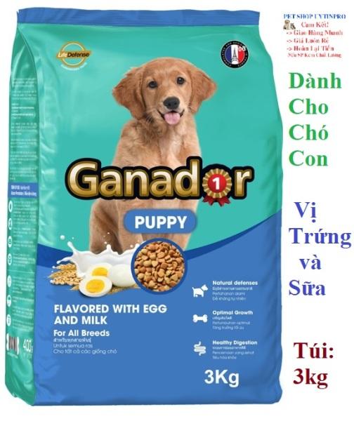 THỨC ĂN CHO CHÓ CON Ganador Puppy Dạng hạt Vị Trứng và Sữa Túi 3kg Thương hiệu từ Pháp