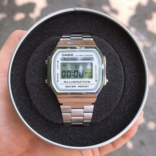 Đồng hồ Nam Casio A168 điện tử FULL BOX dây thép không gỉ, cổ điển, chống nước, bảo hành 12 tháng thumbnail