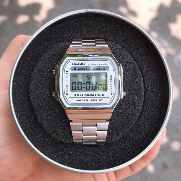 Đồng hồ Nam Casio A168 điện tử FULL BOX dây thép không gỉ, cổ điển, chống nước, bảo hành 12 tháng bán chạy