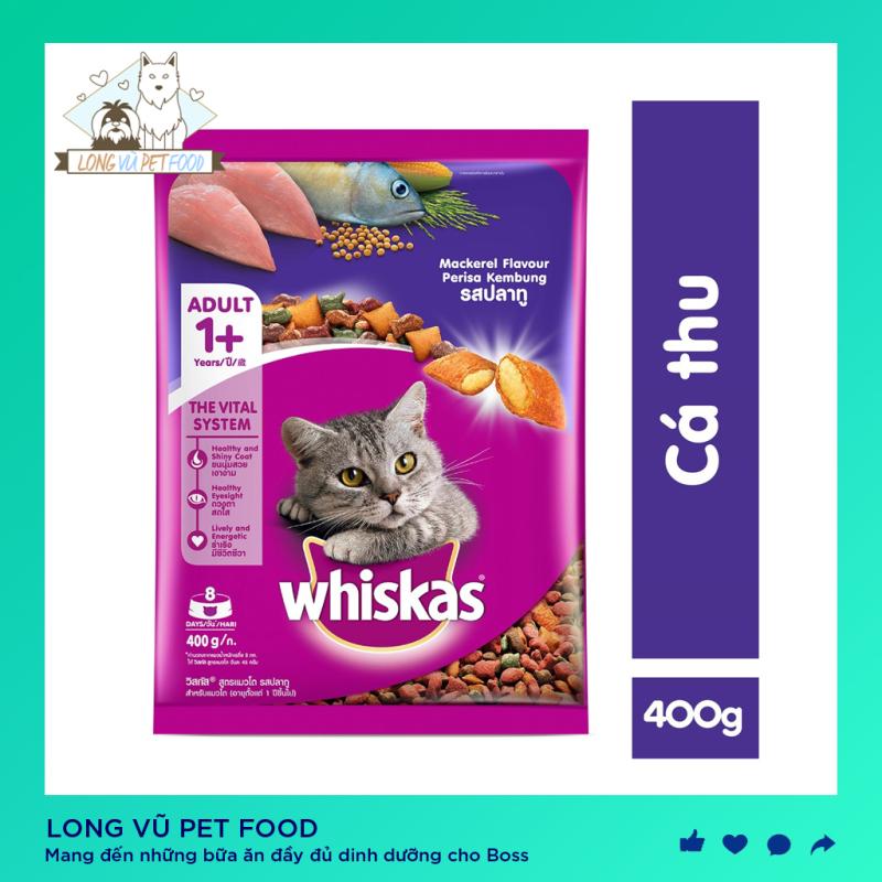 Thức ăn cho mèo Whiskas vị cá thu túi 400g, được sản xuất từ các nguyên liệu tự nhiên, bổ sung dưỡng chất, tốt cho hệ tiêu hóa, hàng có nguồn gốc rõ ràng