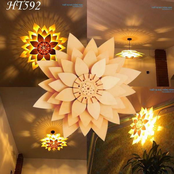 Đèn ốp trần bằng gỗ hình hoa sen + tặng bóng cao cấp