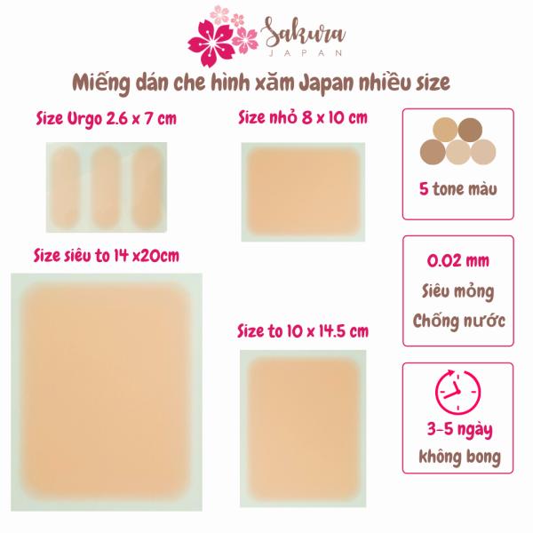 Miếng dán che hình xăm Sakura Japan, miếng dán che khuyết điểm nhiều size, công nghệ đến từ Nhật Bản, chất liệu silicon siêu mỏng, không gây bí da, che phủ 3-5 ngày giá rẻ